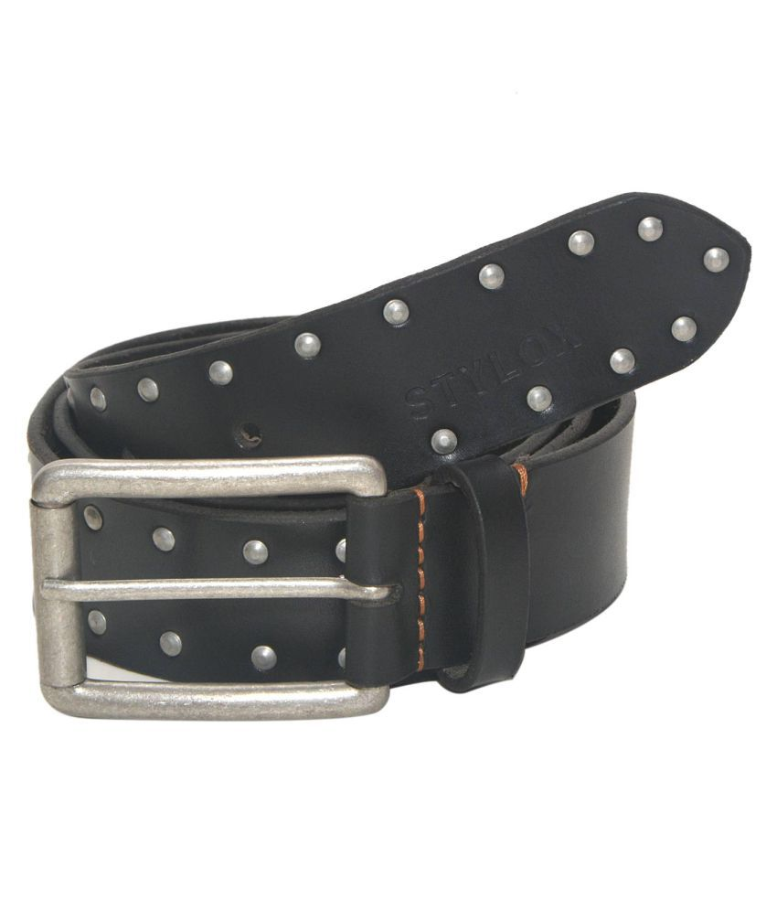 Stylox Black Leather Casual Belts