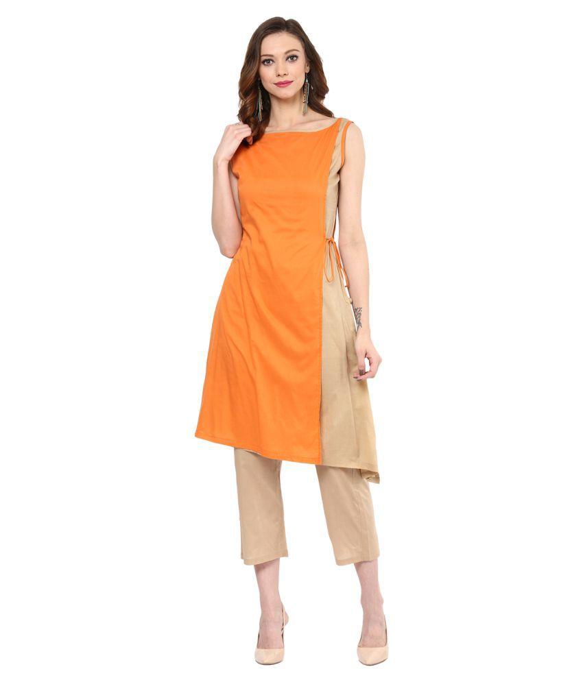 Myra Multicoloured Cotton Straight Stitched Suit