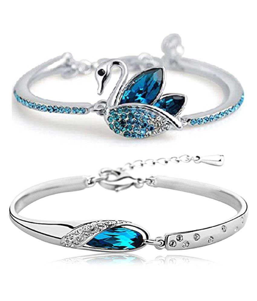 Shining Diva Fashion Silver Bracelet - Set of 2