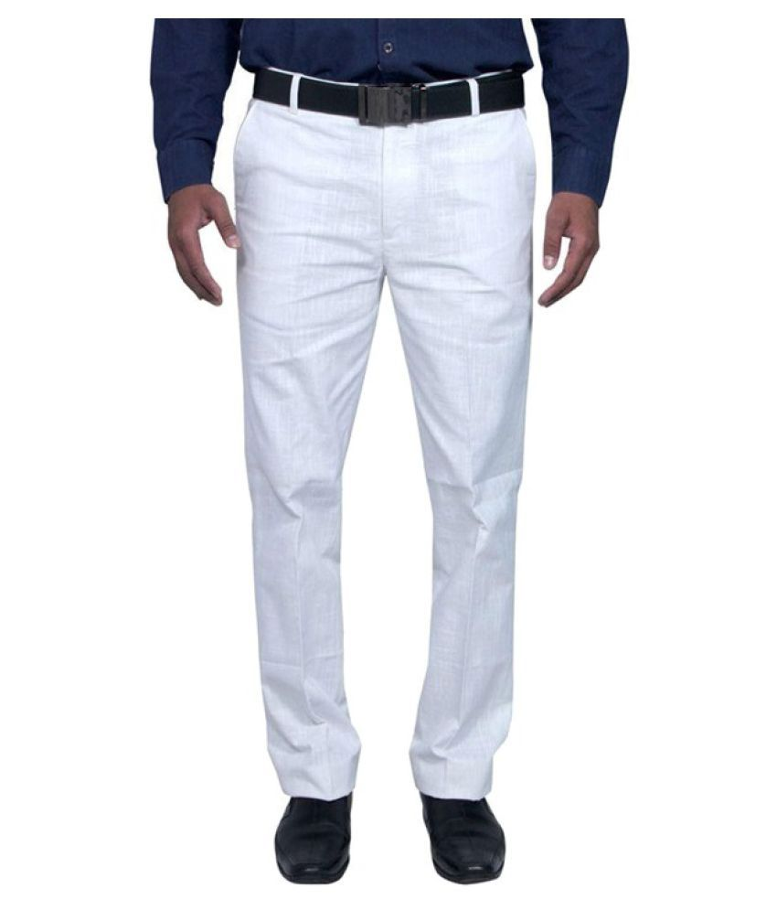 Renzo White Regular Flat Trouser