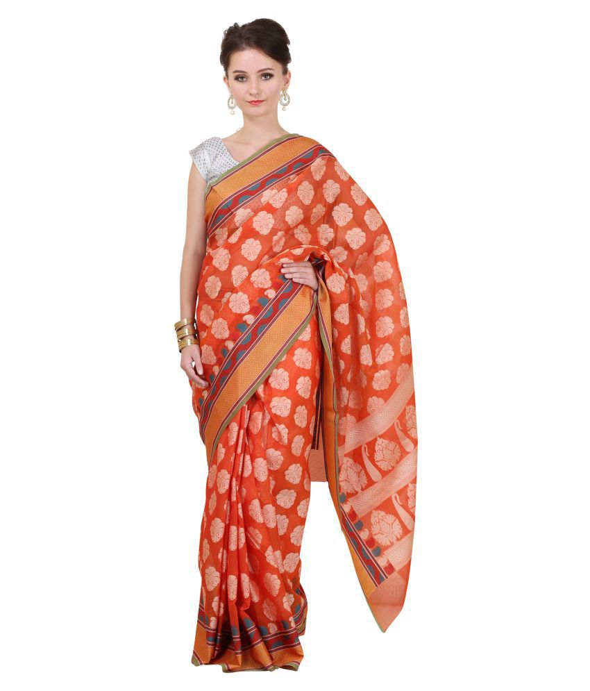 Sierra Orange Banarasi Silk Saree
