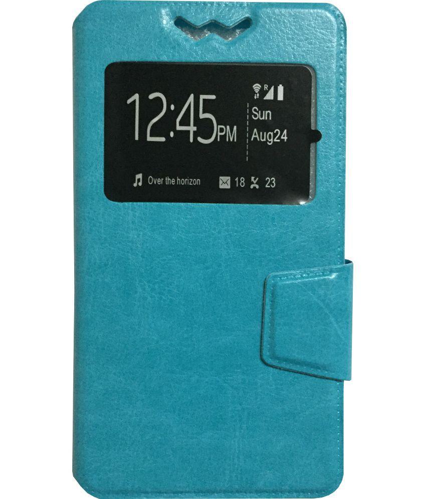 Micromax Bolt Q333 Flip Cover by Lomoza - Blue