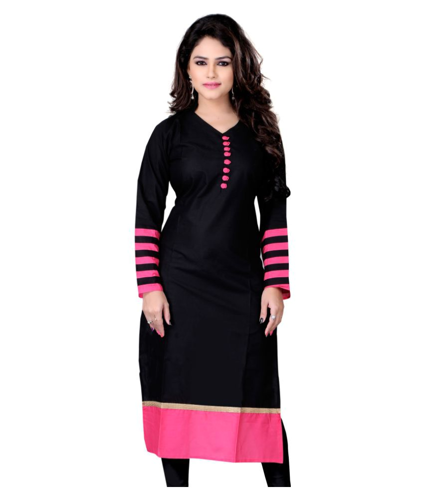 V R Enterprise Black Cotton Straight Kurti