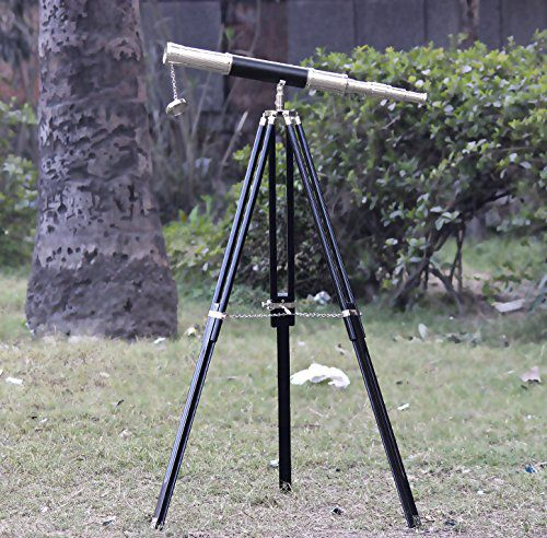 Marine Chrome Brass Black Leather Telescope Brown Tripod Vintage Telescope Nautical Gifts kids educational playing toy