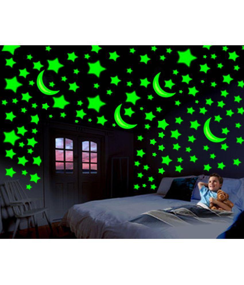 Wall stickers glowing - Divi Glowing Radium 4 Moon 216 Medium Star Pvc Wall Stickers
