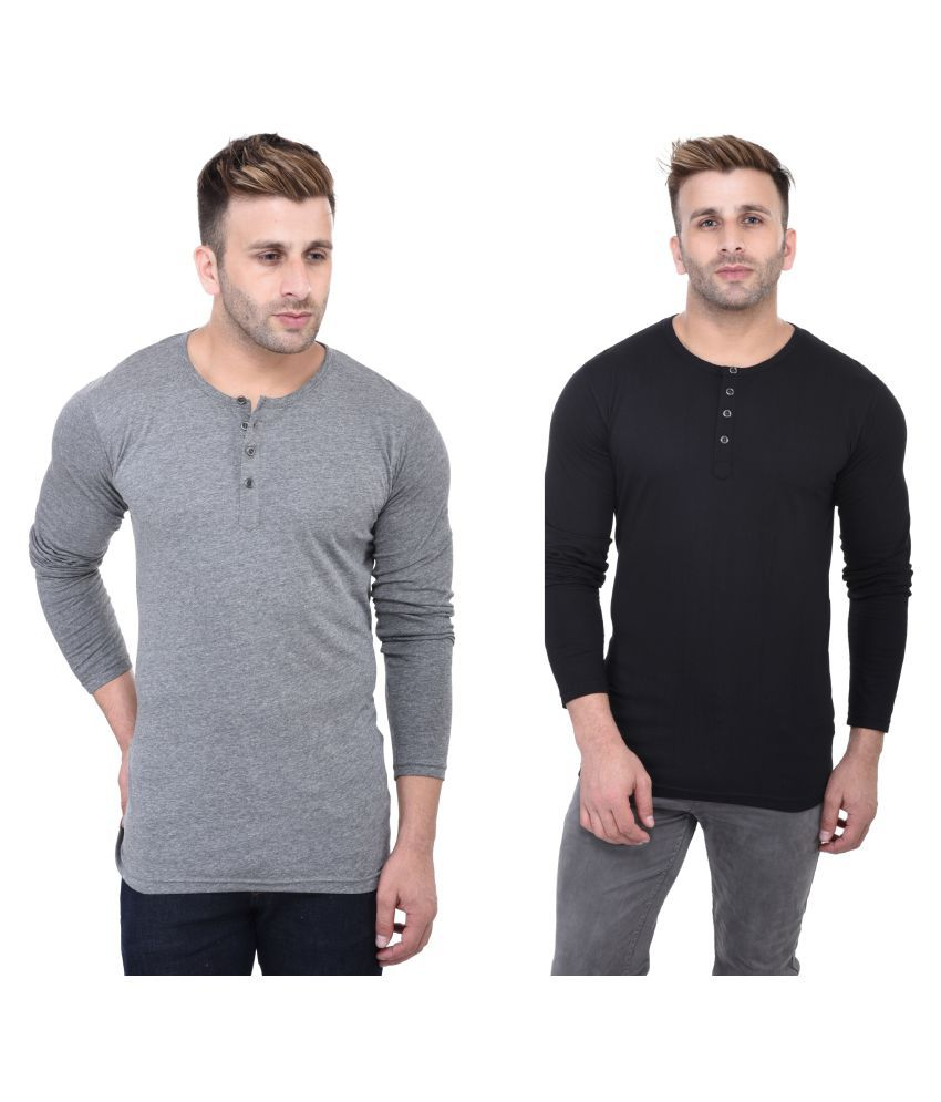 FastColors Multi Henley T-Shirt Pack of 2