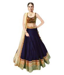 Pavan Dresses Navy Blue Brocade A-line Stitched Lehenga
