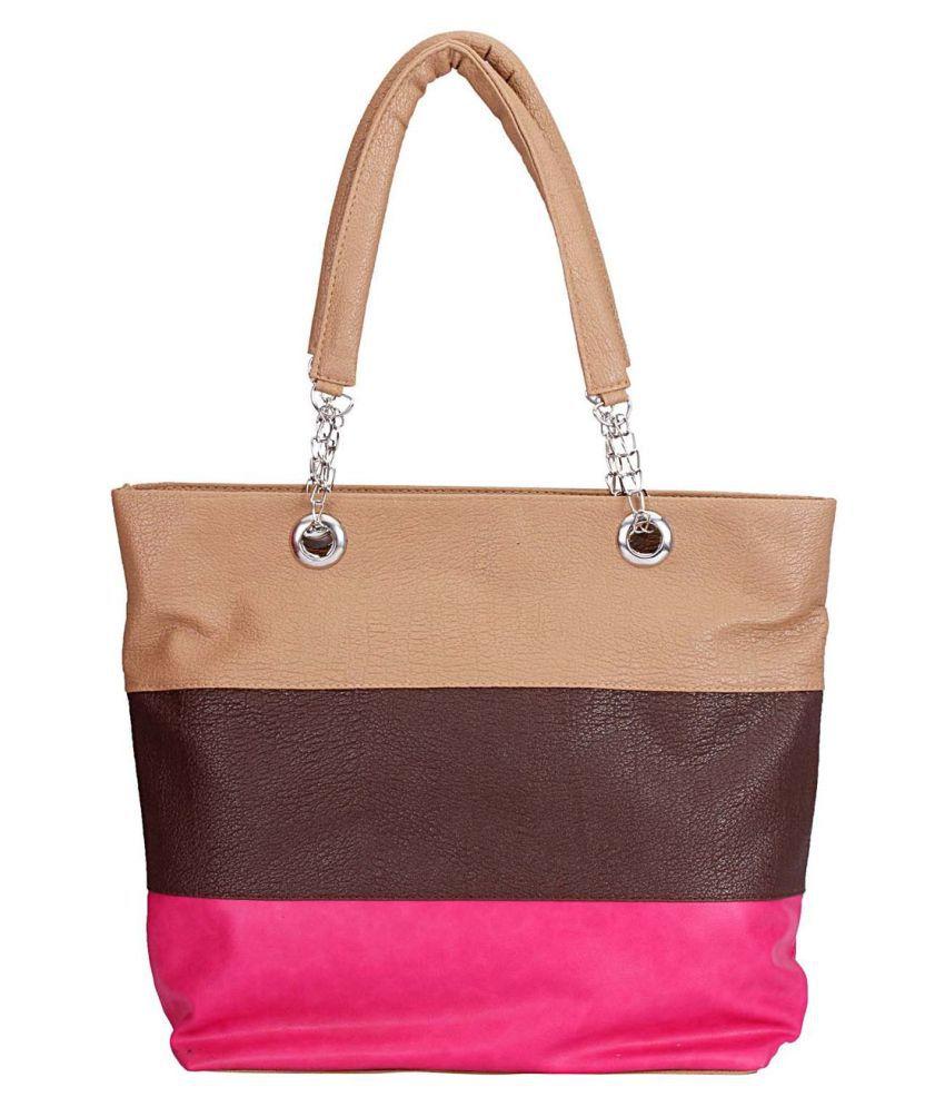 Maeva Beige Artificial Leather Shoulder Bag