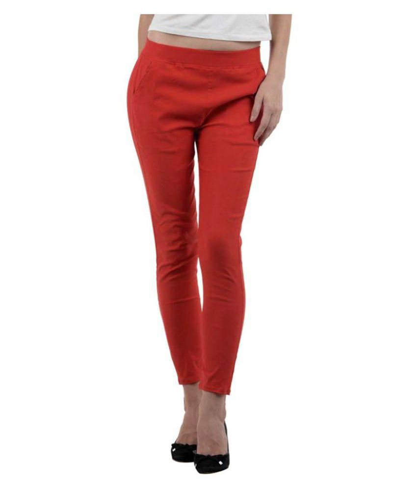 Blooming Trenz Red Cotton Lycra Jeggings