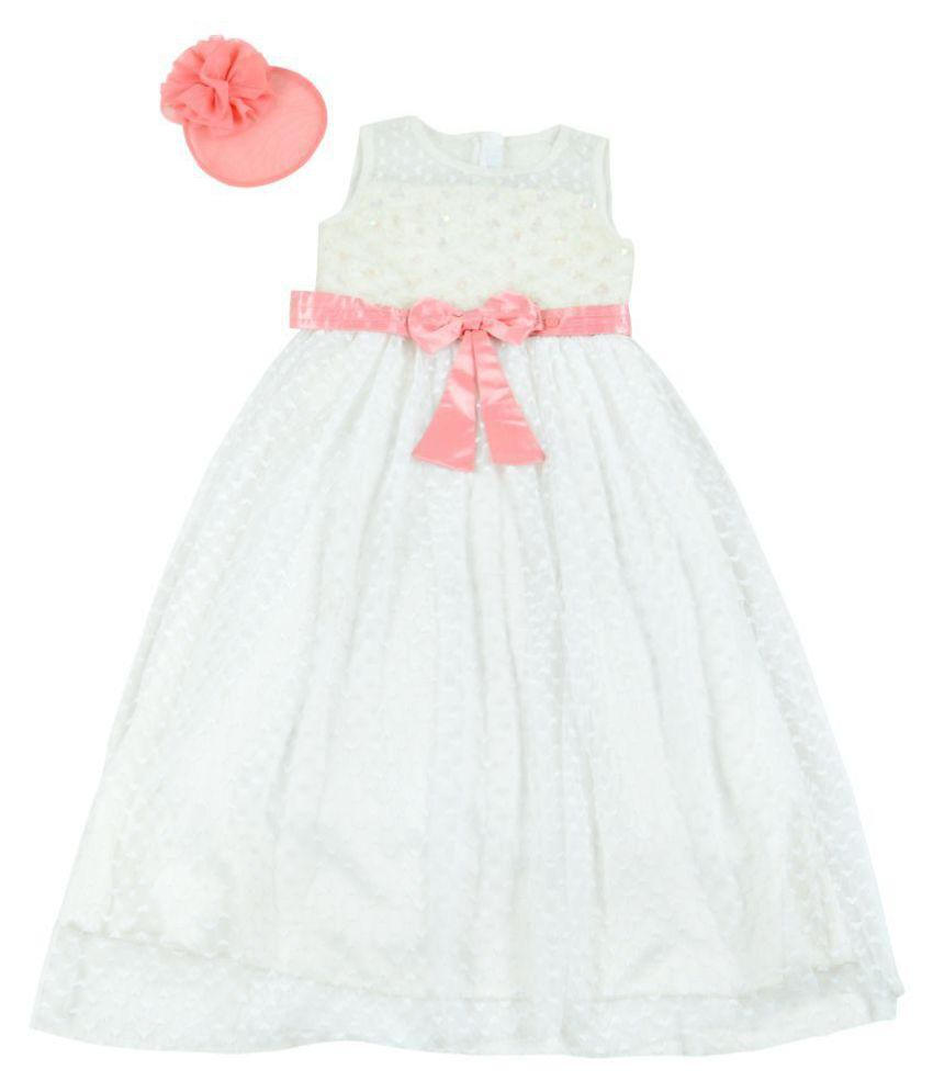 be8fb0a250a5 KidsDew White Net Gown - Buy KidsDew White Net Gown Online at Low ...