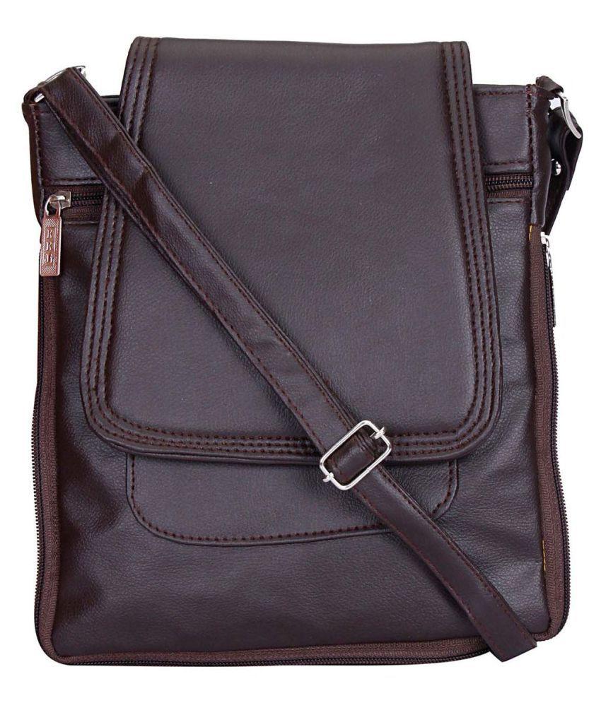 Maeva Brown Artificial Leather Sling Bag