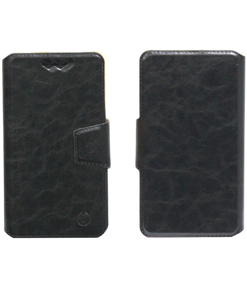 Celkon Diamond Q4G Plus Flip Cover by Jojo - Black
