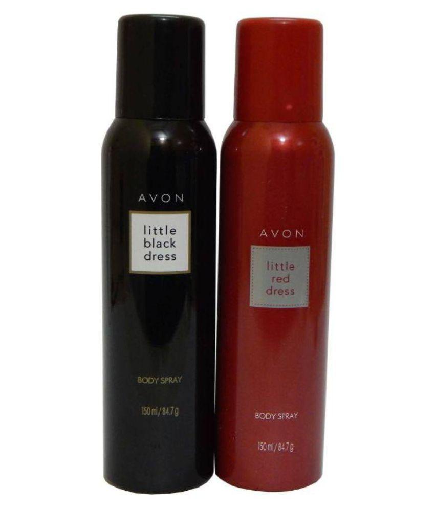 Avon Little Black & Red Dress Body Each 150 ml Combo Set  (Set of 2)