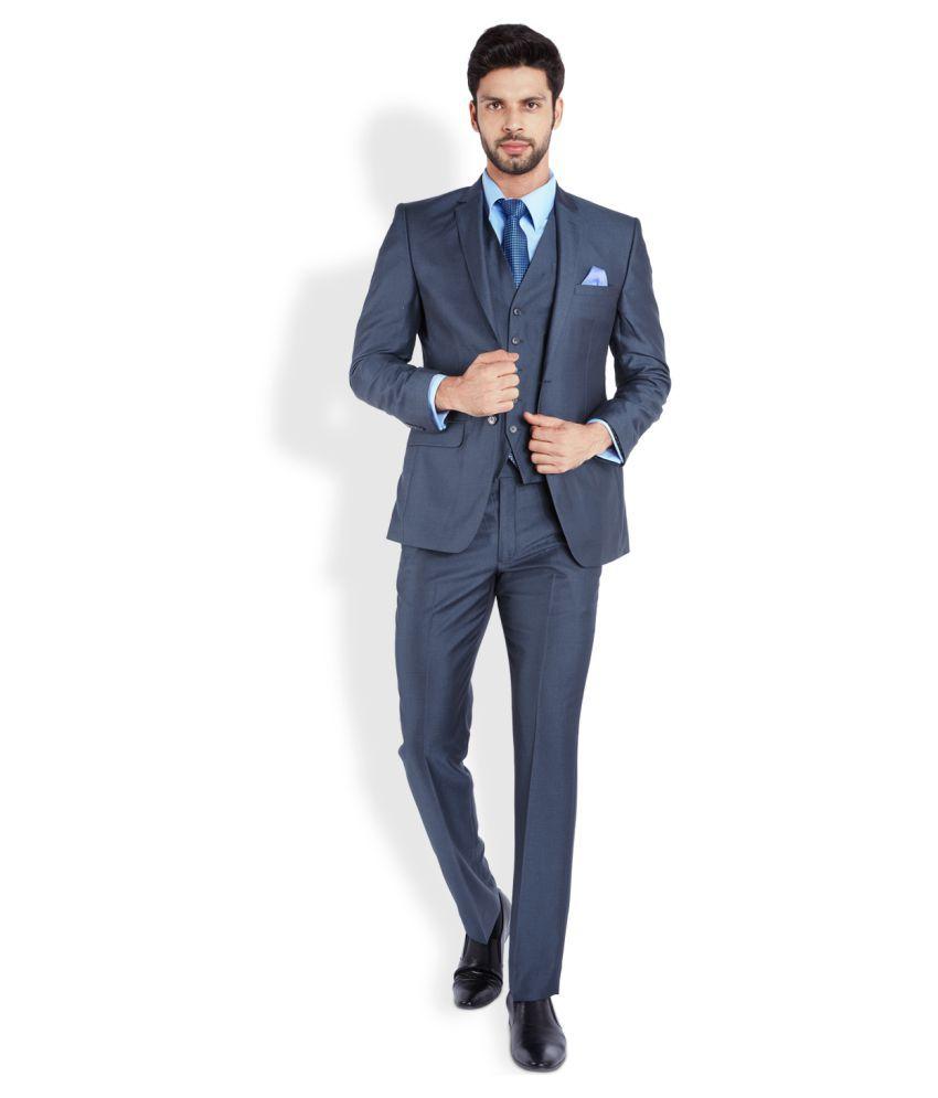 Park Avenue Blue Solid Formal Suit