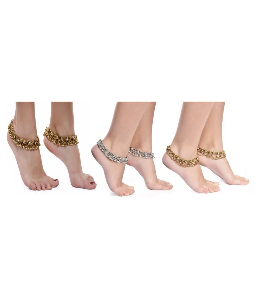 Charms Multicolor Anklets-  Pack of 3