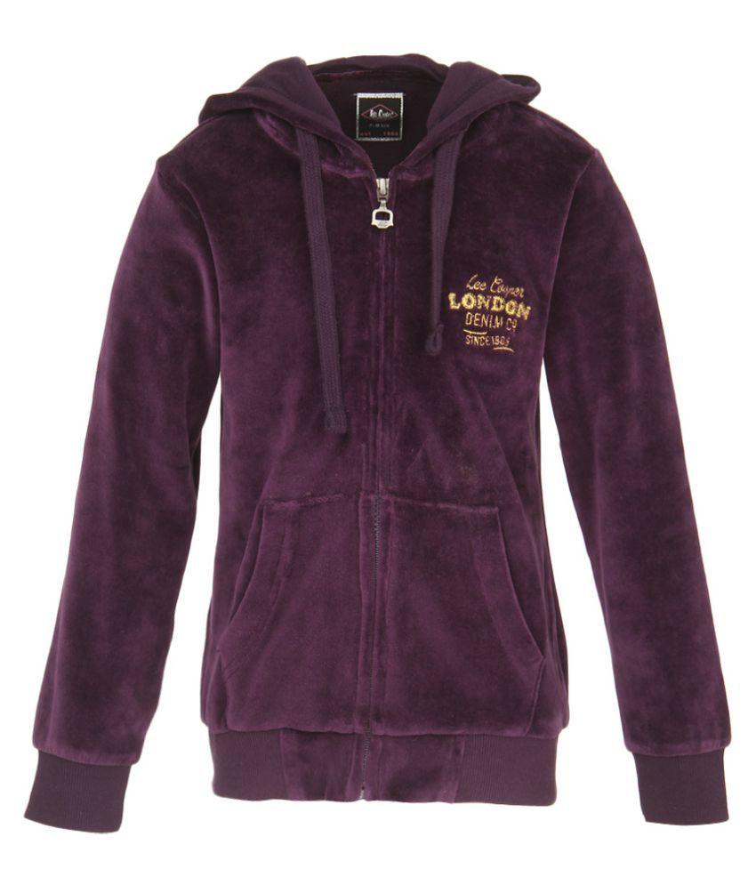 Lee Cooper Purple Zippered Sweatshirt