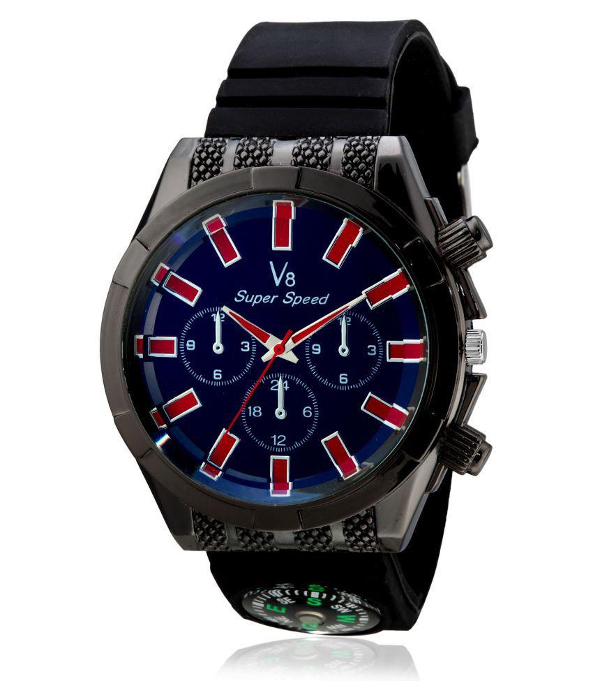 V8 Super Speed Black Dial Men's Analog Watch- V8-015-RED
