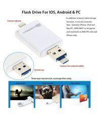 Roq 3 In 1 Iflash Device 3 IN 1 64GB USB 3.0 OTG Pendrive white