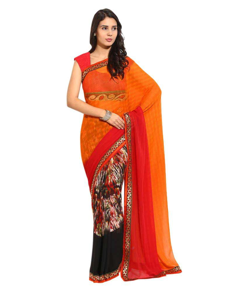 M.Tex Multicoloured Georgette Saree