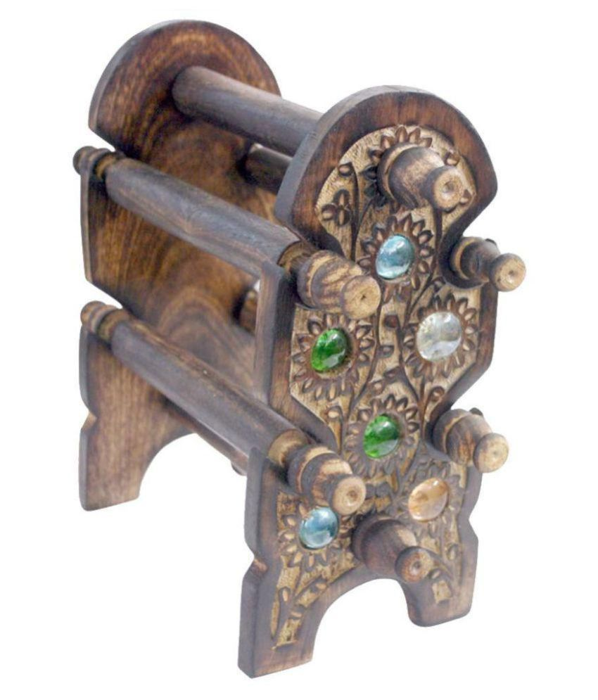 Woodkartindia Wooden Antique Bangle Stand 4 Roads