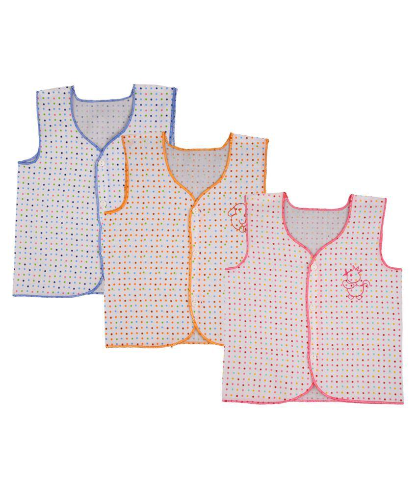 Momtobe Multicolor Polka Print Baby Top for Infants - Pack of 3