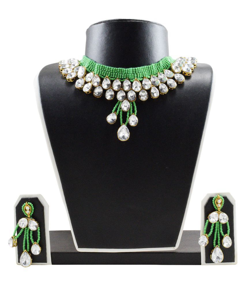 FashionValley Green Jeko Moti Kundan Necklace Set