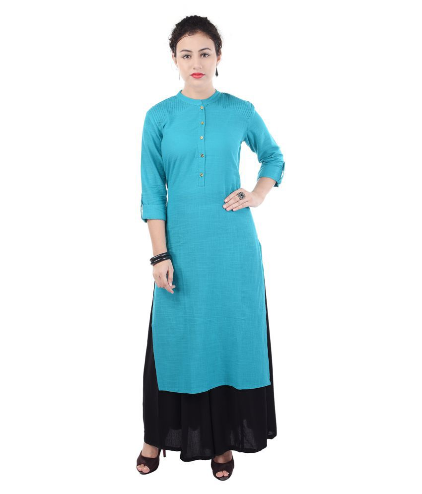 Khushfashions Blue Cotton Straight Kurti
