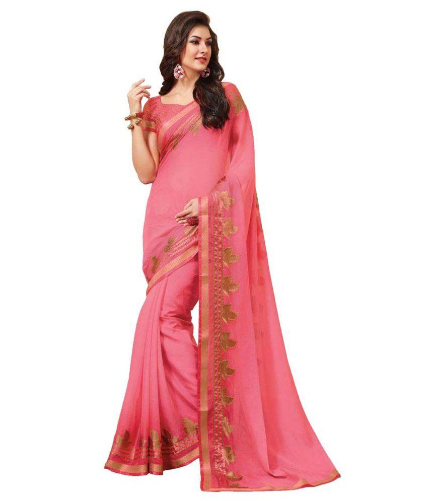 Sudarshan Silks Pink Synthetic Saree