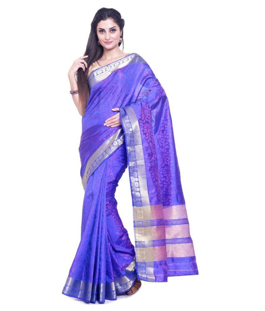 Sudarshan Silks Blue Raw Silk Saree