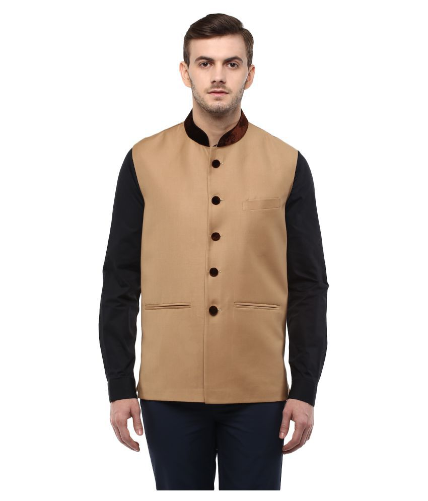 Veera Paridhaan Brown Solid Party Jackets