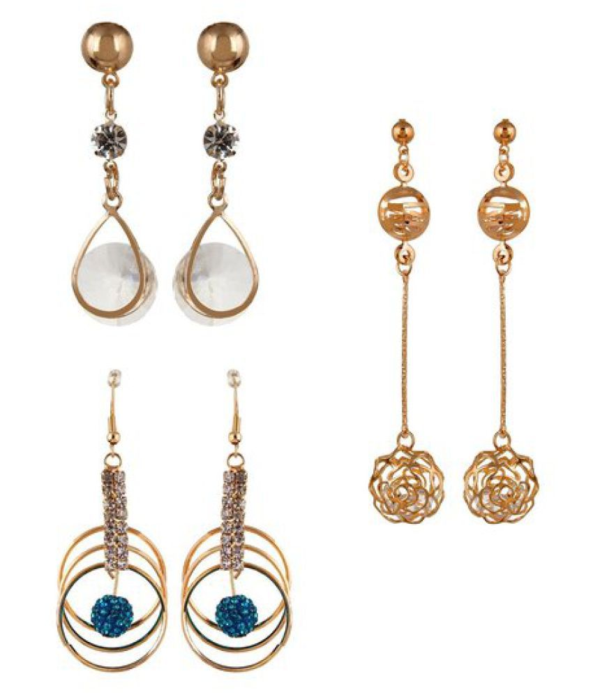 YouBella Long Traditional Maharani Golden Earrings Combo for Women