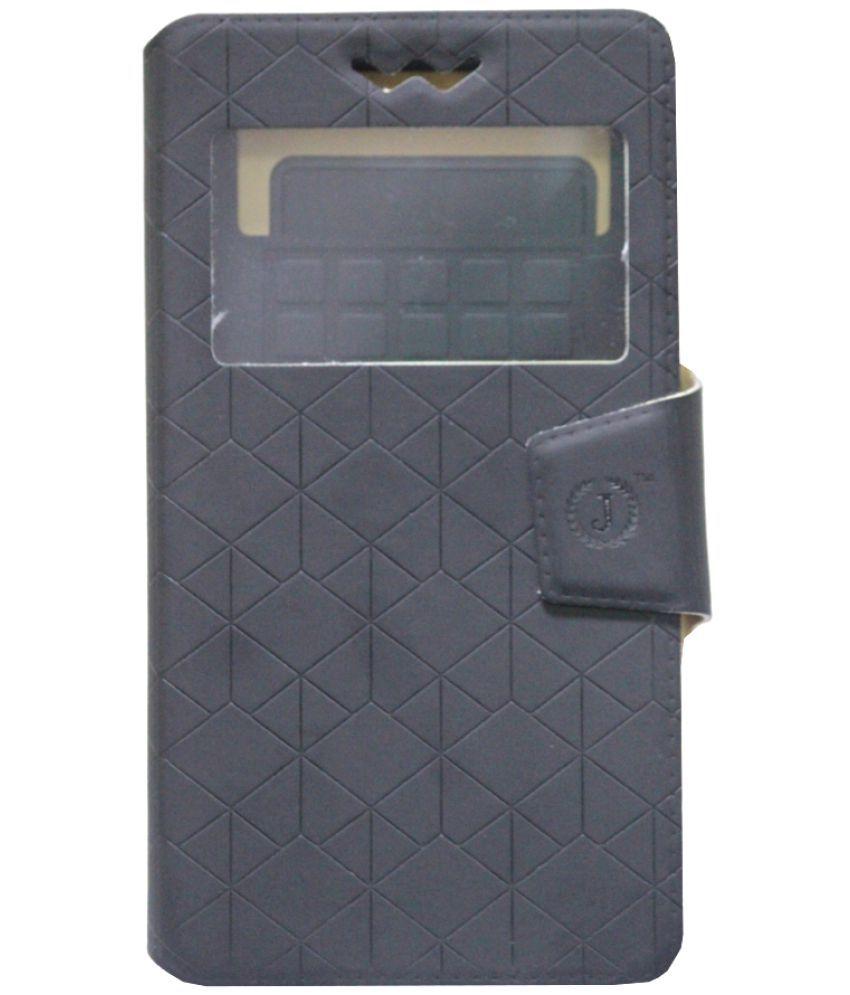 Lava A59 Flip Cover by Jojo - Black