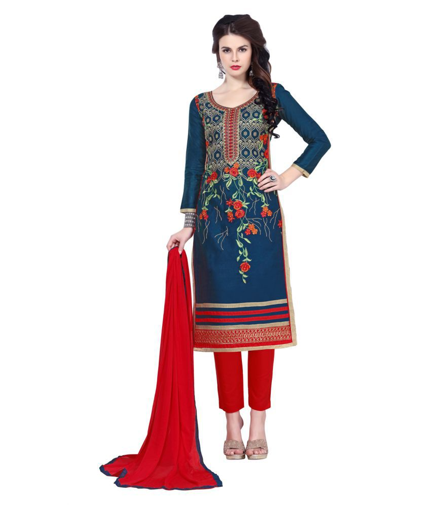 Maroosh Red and Blue Cotton Blend Straight Semi-Stitched Suit