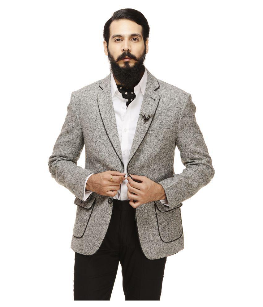 Monteil & Munero Grey Self Design Casual Blazers