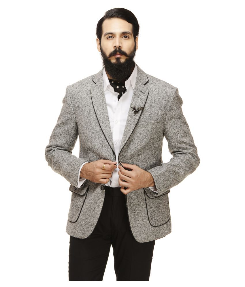 Monteil & Munero Grey Self Design Casual Blazers