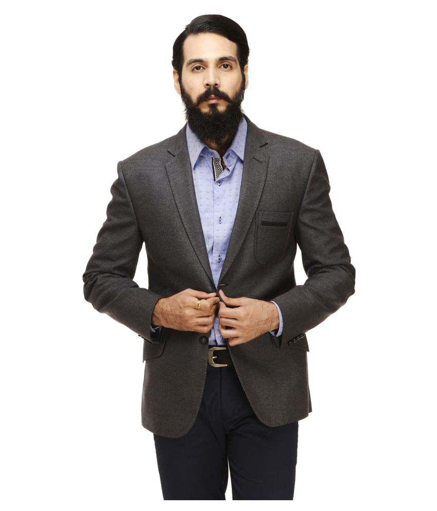 Monteil & Munero Grey Solid Casual Blazers