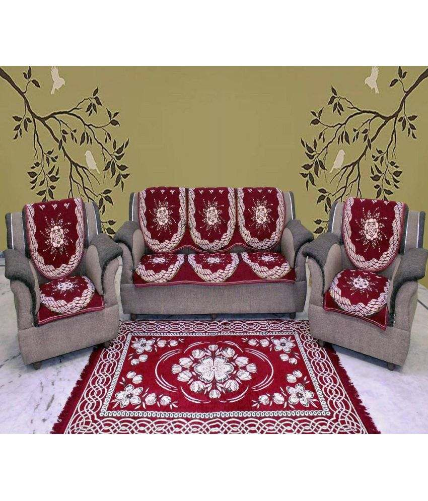 Sofa Set Cover Price In India: A.P. Handloom 5 Seater Jacquard Set Of 6 Sofa Cover Set