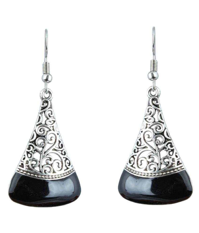 Waama Jewels Hanging Earring Silver Plated College Wear Oxidised Earring for Girl Artificial Jewellery  Vintage Fashion