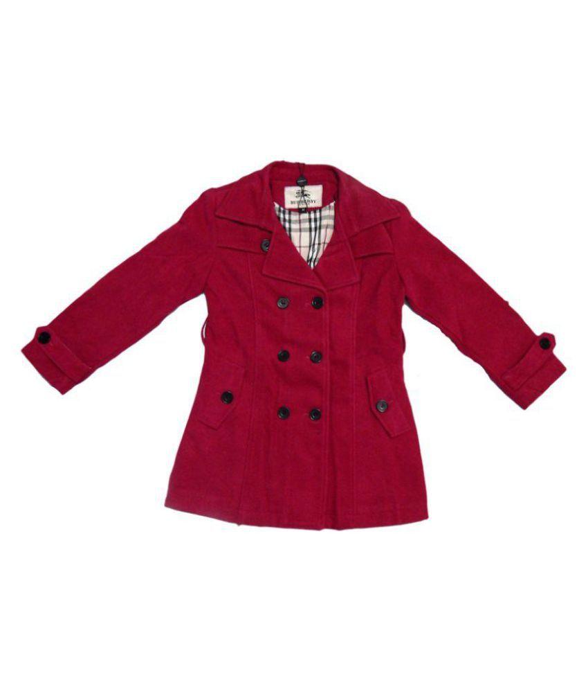 Burberry  Maroon Woolen Coat