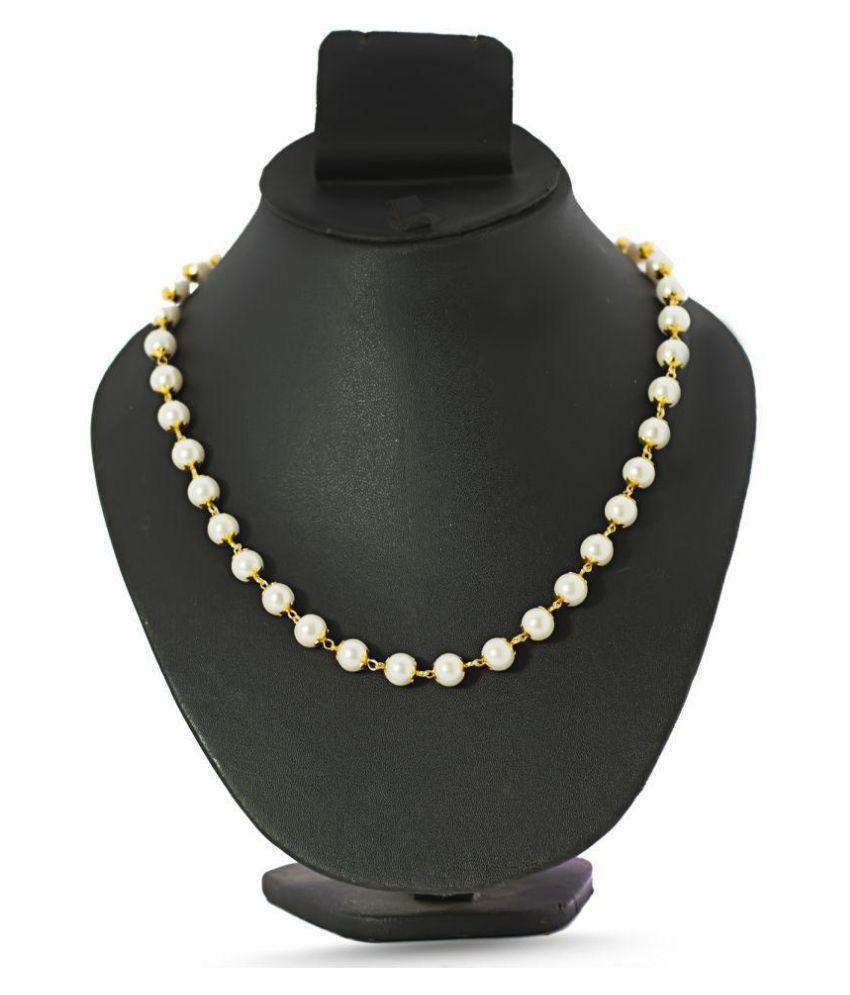 Three Shades Off White Pearls Chain