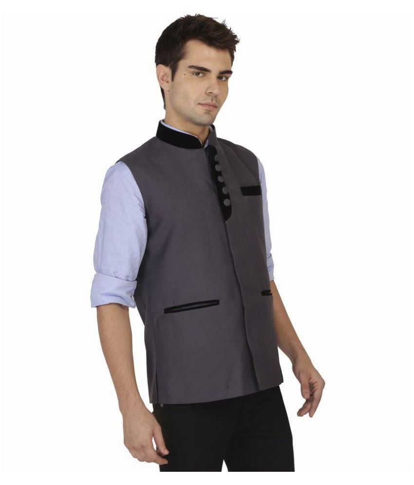 Veera Paridhaan Grey Solid Formal Waistcoats