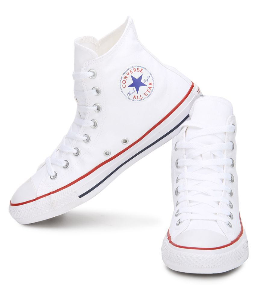 High Ankle Sneakers White Casual Shoes