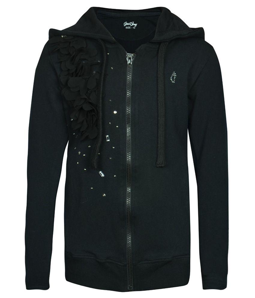 Gini & Jony Gray Embellished Regular Fit Hooded Jacket