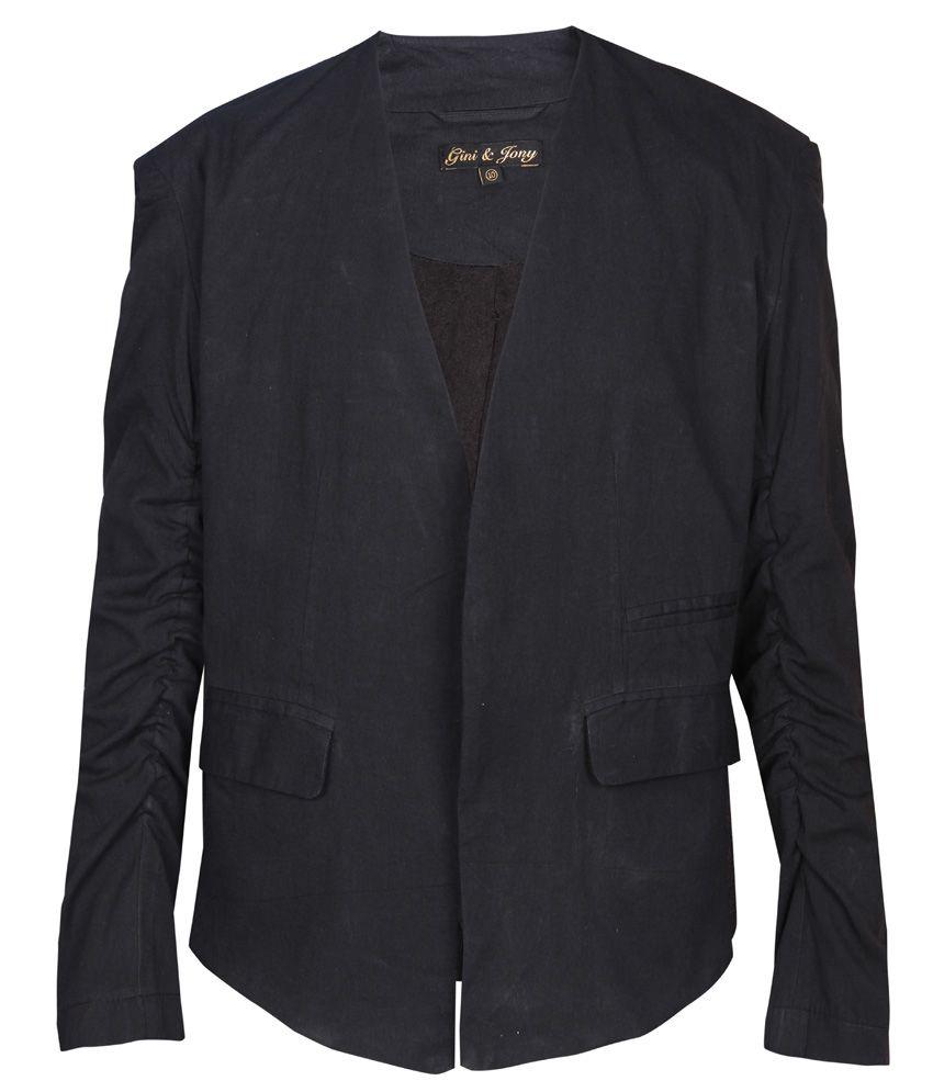 Gini & Jony Gray Solid Regular Fit Blazer