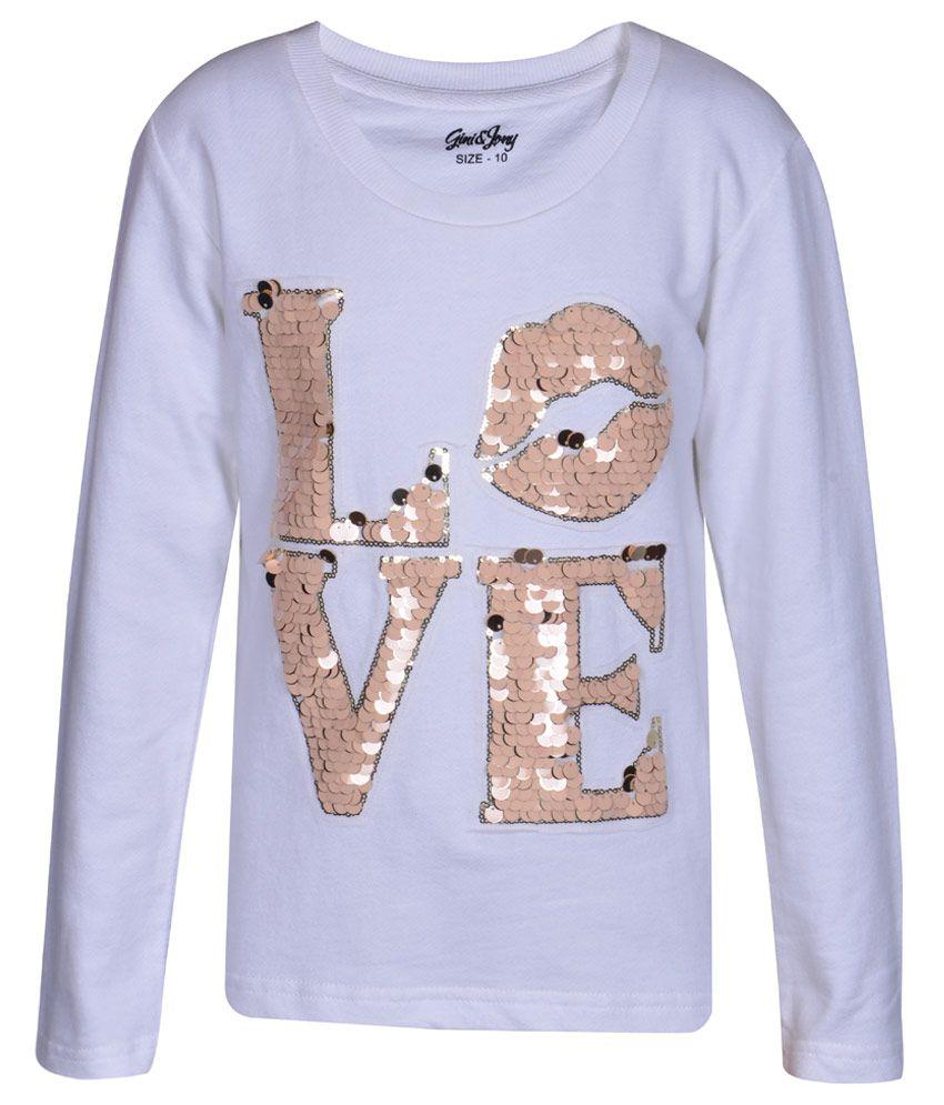 Gini & Jony White Sequinned Regular Fit Sweatshirt