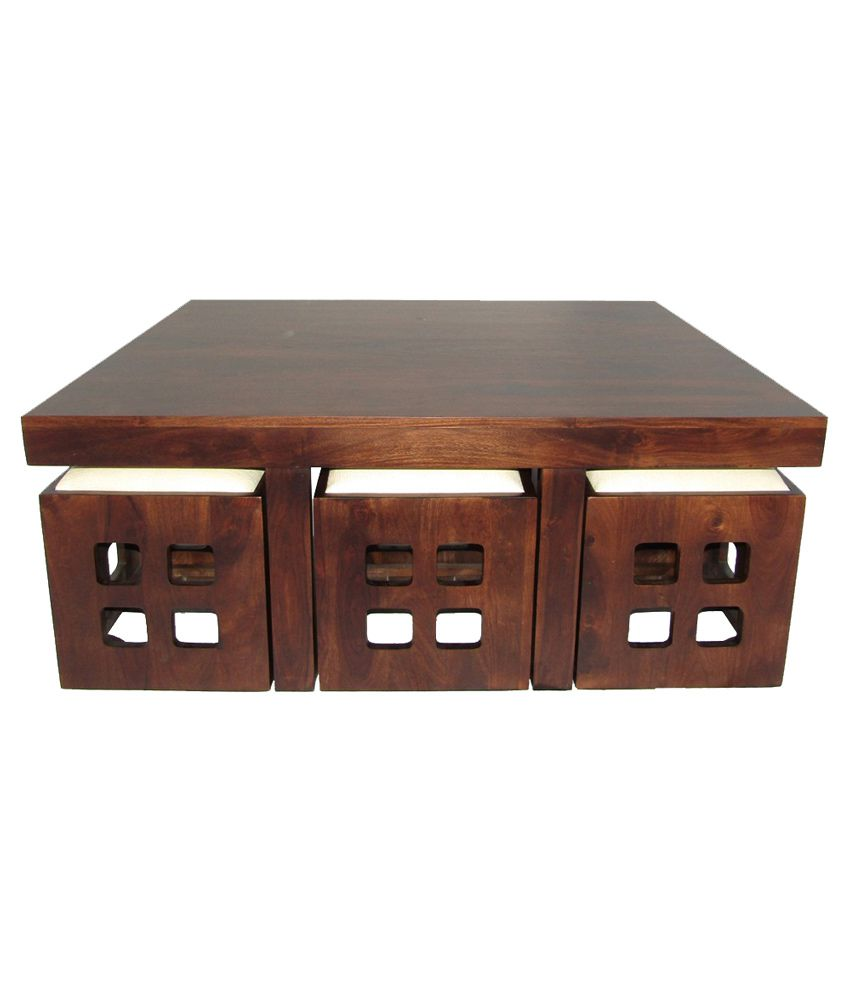 WoodFaber 6 Seater Coffee Table Stool Set