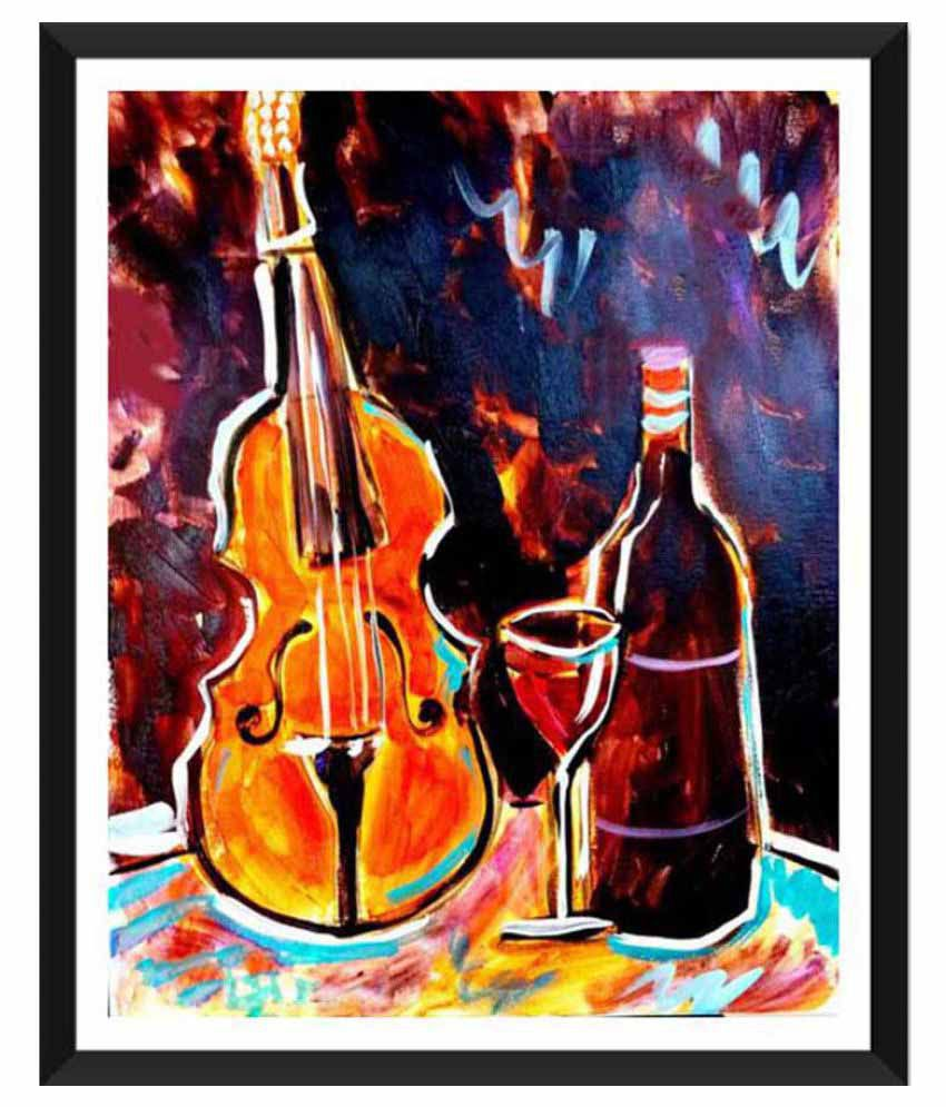 Tallenge Violin And Wine Paper Art Prints With Frame Single Piece
