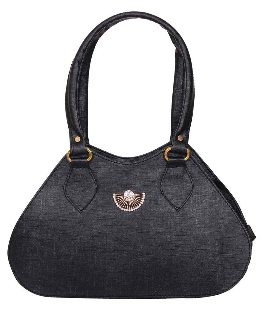 Raas Bazaar Black Faux Leather Hobo Bag