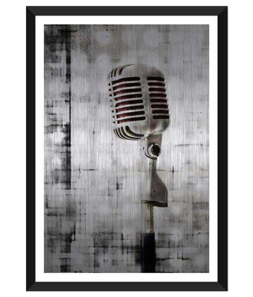 Tallenge Brushed Metal Microphone Ready to Hang Paper Art Prints With Frame Single Piece