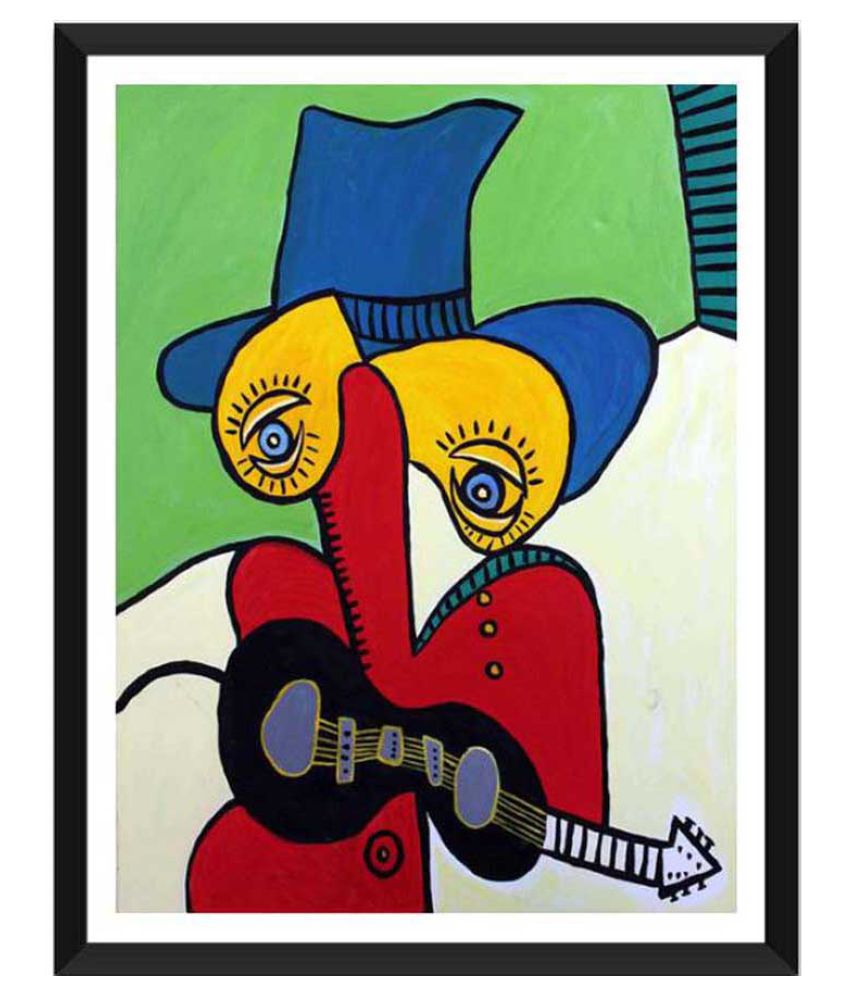Tallenge Guitarist With Hat Paper Art Prints With Frame Single Piece